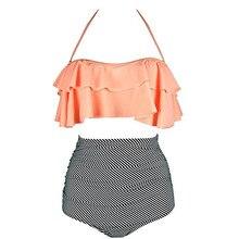 2017 New Bikinis Women Swimsuit High Waist Bathing Suit Plus Size Swimwear Push Up Bikini Set Vintage Beach Wear Biquini