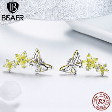 BISAER 925 Sterling Silver Butterfly Yellow Cubic Zirconia Stone Drop Dangle Earrings for Women Statement Wedding Jewelry GAE064 clean rectangle blue cubic zirconia white cz 925 sterling silver drop dangle earrings for women v0368