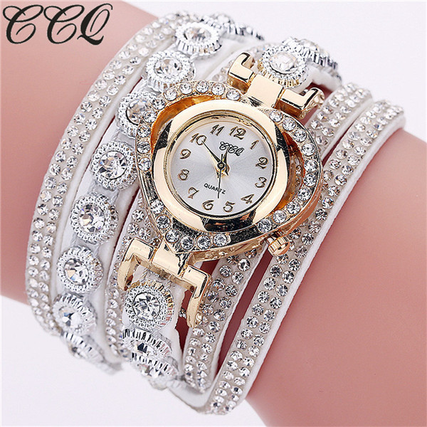 2018 Luxury Watches Women Rhinestone Quartz Crystal Leather Bracelet Watch Femal