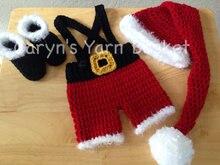 Livraison gratuite Bébé De Noël longue queue chapeau, bottes avec shorts assortis Pantalon bébé ensembles. nouveau-né crochet Photographie Props coton