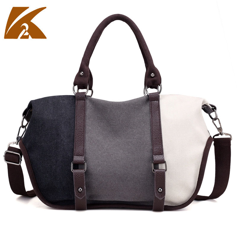 KVKY Brand Patchwork Canvas Tote Handbag Women's Fashion Hobos Crossbody Messenger Bag Large Capacity Travel Shoulder Bag B502 squirrel fashion large canvas patchwork vogue vintage zipper pattern brand versatile crossbody women travel tote shoulder bags