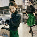 Autumn and winter new fashion sweater + lace dress two-piece suit-do781
