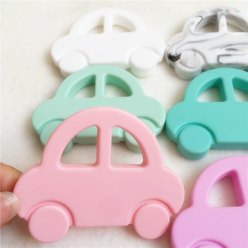 Chenkai 20PCS BPA Free Safe Silicone Car Teether Pendant DIY Nursing Necklace Baby Pacifier Dummy Sensory Toy Teething Gfit
