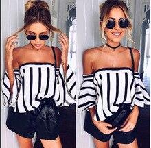 Elegant Flare Sleeve Stripe Blouse Shirt Women Fashion 2017 Streetwear Tunic Tops Casual Off Shoulder Cool Tube Top Blusa