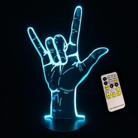 3D Acryl USB Nachtlampje Slaapkamer Creative I Love U Teken Afstandsbediening/Touch Control LED Tafellamp Kind Kerst Verjaardagscadeau