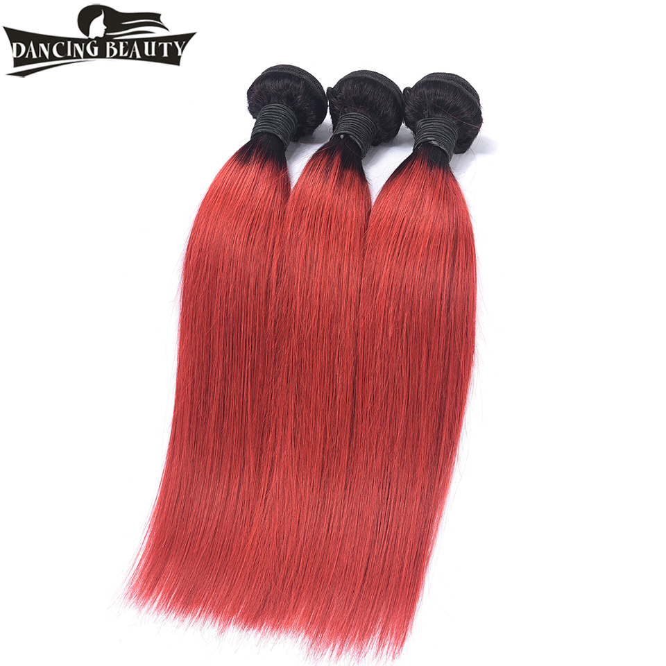 DANCING BEAUTY Pre-Colored Ombre Red Hair 3 Bundles Straight Brazilian Hair Weave Bundles 1B/Red Non Remy Human Hair Weaving