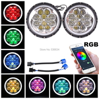 2pcs RGB Chrome Angel Eyes 7inch Headlights Kit For 1992 2001 AM General Hummer 2004 2006