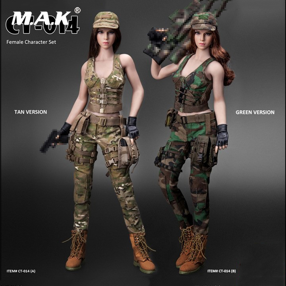 CT014 1/6 Scale Sexy Military Ratio Female Character Combat Suit Set Clothes & Head Model Accessory for 12'' Action Figure Body