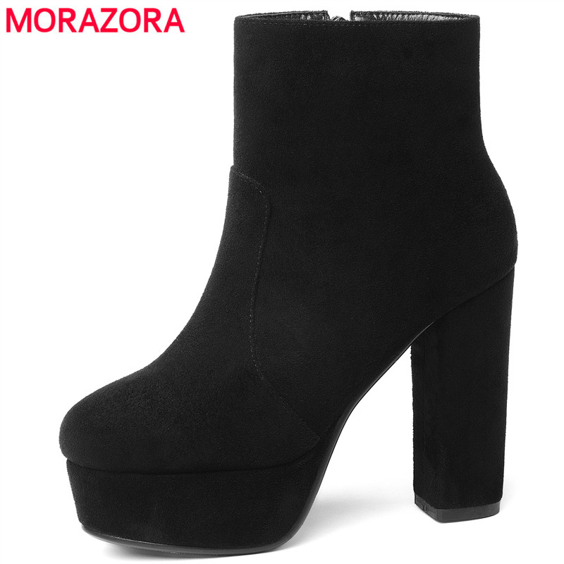 MORAZORA 2018 new top quality flock leather boots woemn high heels platform ankle boots for women round toe autumn winter shoes