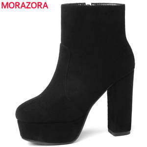 MORAZORA 2018 new leather ankle boots for women shoes