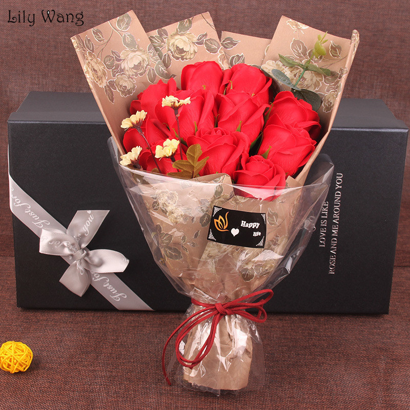 Lily Wang 11PcsBox Soap Rose Artificial Flower Bouquet Decoration For Wedding Birthday Valentine'S Day Festival Luxury Gift Box