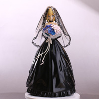 NEW hot 25cm Fate stay night saber black Wedding dress Artoria Pendragon Action figure toys doll collection Christmas no box