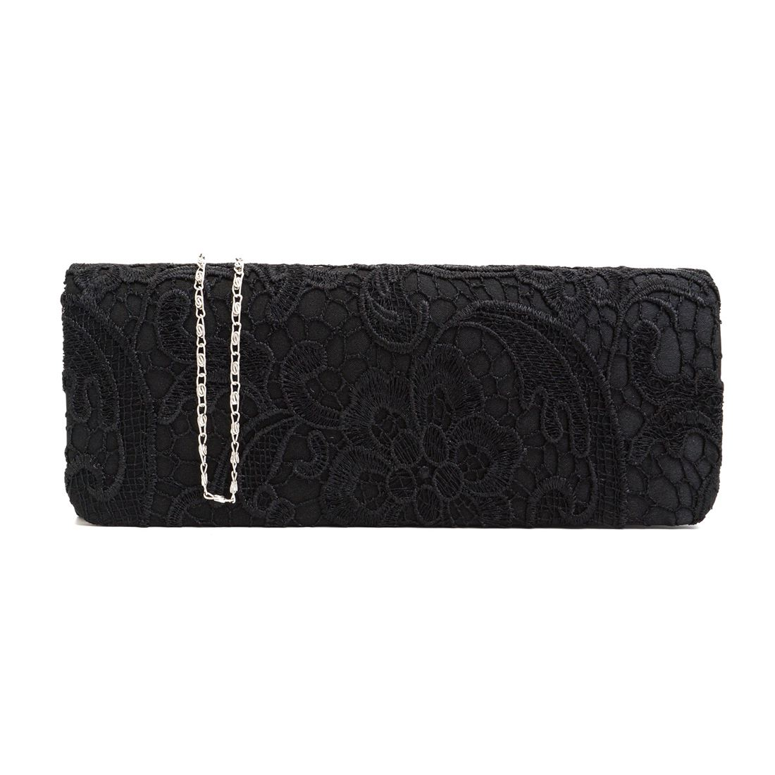 5) Satin Floral Lace Designer Clutch Bag Evening Purse Ladies Party Wedding Women, Black