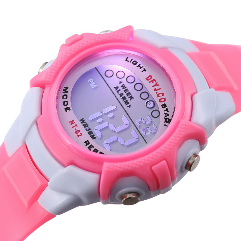 Cute Girl Watch Kids Boy Children Watch LED Digital Wrist Sports Watches LED Pink Strap Watch Students Clock Silicone Relogio
