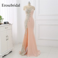Sexy Illusion Mermaid Evening Dress Long Erosebridal Evening Gowns For Women Appliques Side Seam Robe De Soiree ZLR030