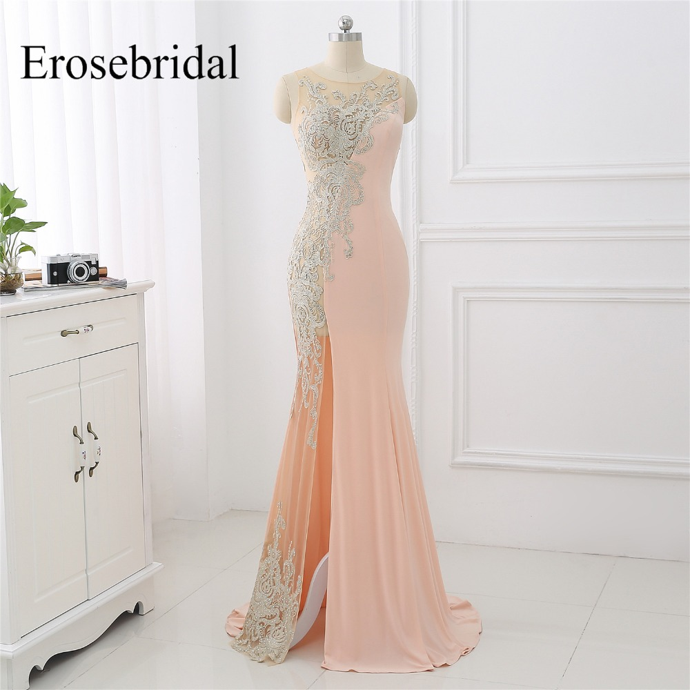 Sexy Illusion Mermaid Evening Dress Long Erosebridal Evening Gowns For Women Appliques Side Seam Robe De Soiree ZLR030