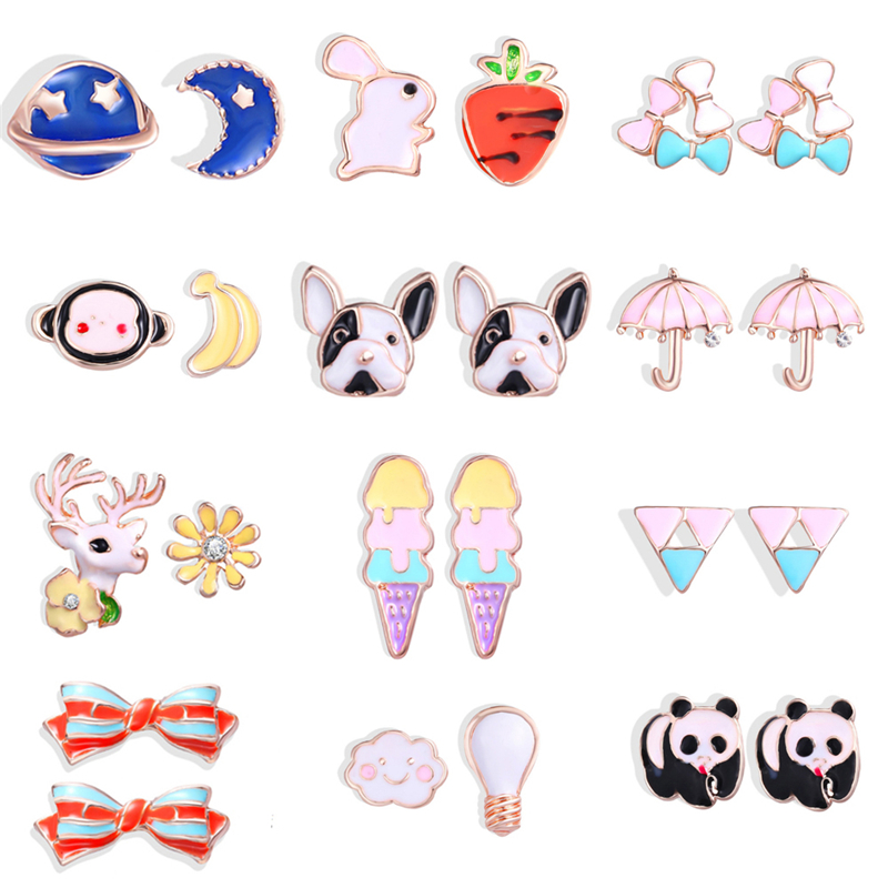 12 Animal Stud Earrings For Girls Child Small Cute Colorful Kids Stud Earrings For Girl Bulldog Elk Child Pierce Earring Jewelry
