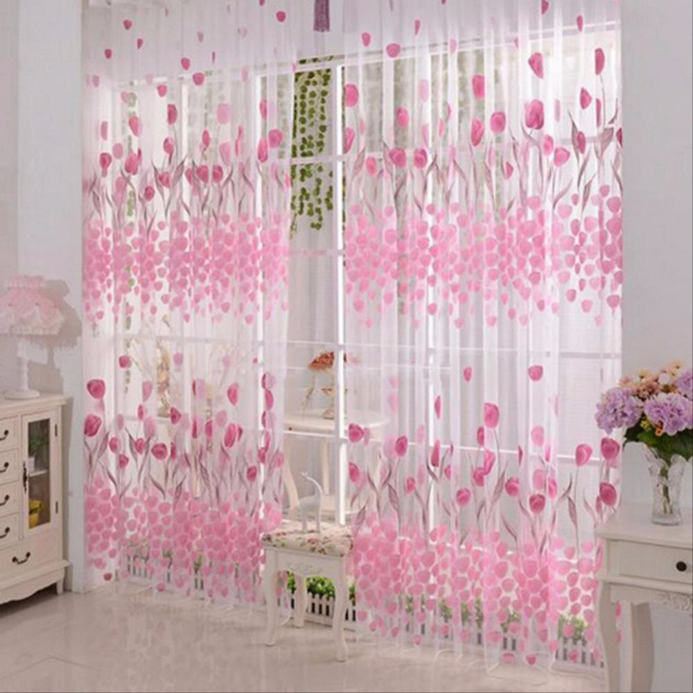 Romantic Rustic Bedroom Window Curtains Lowest Jacquard Curtain Cloth Tulip Printed Finished Curtain Tulle Set Cheap