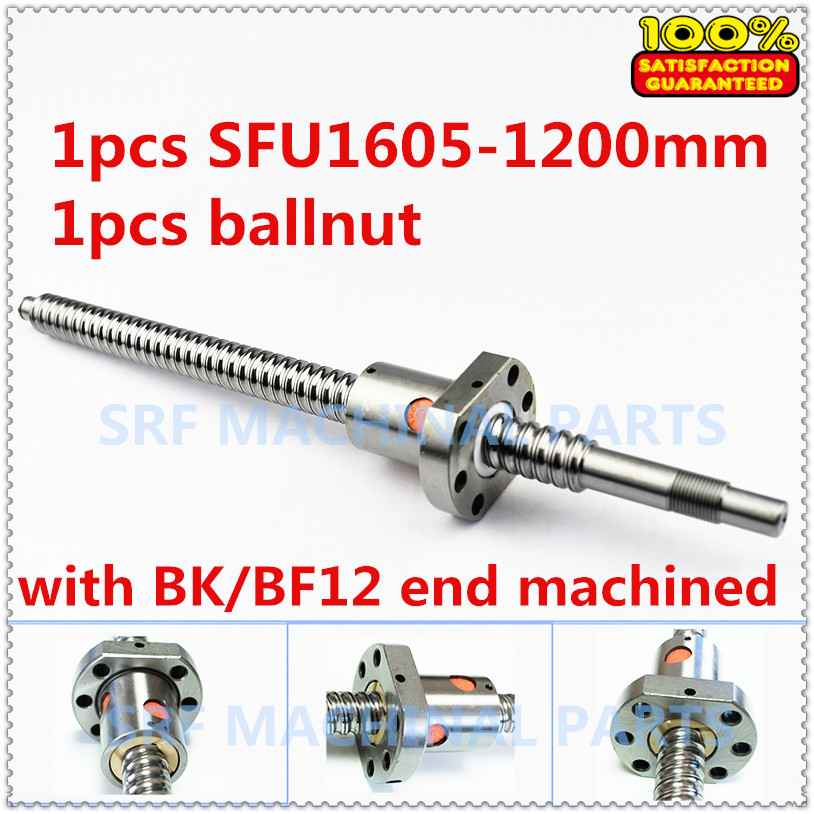 100% Brand New 1pcs 16mm SFU1605 Rolled ball screw L=1200mm with SFU1605 Ballscrew nut for CNC Part 16mm linear rolled 1605 lead ballscrew ballnut set 1pcs sfu1605 ball screw l 1200mm 1pcs double ball nut for diy cnc