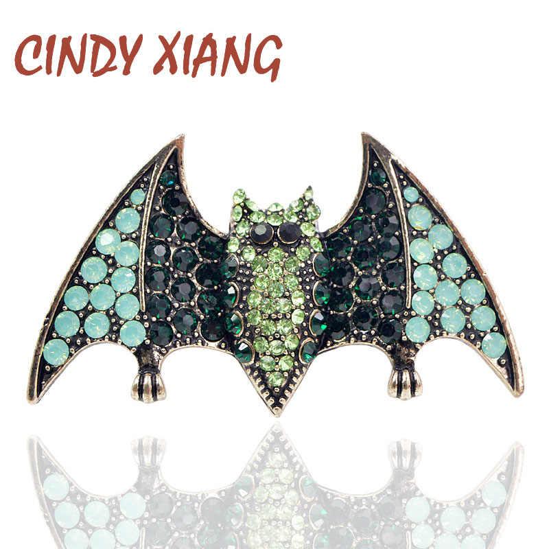Cindy Xiang 2018 Halloween Rhinestone Bat Bros untuk Wanita Fashion Vintage Hewan Pin untuk Pria Leher Pesta Aksesoris Hadiah