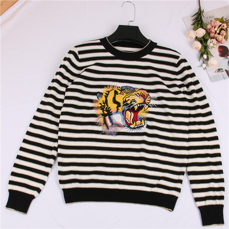 SRUILEE Fashion Jersey Brand Design Tiger Head Embroidery Striped Jumper Autumn New Women Sweater Pullover Knit Top Runway S50
