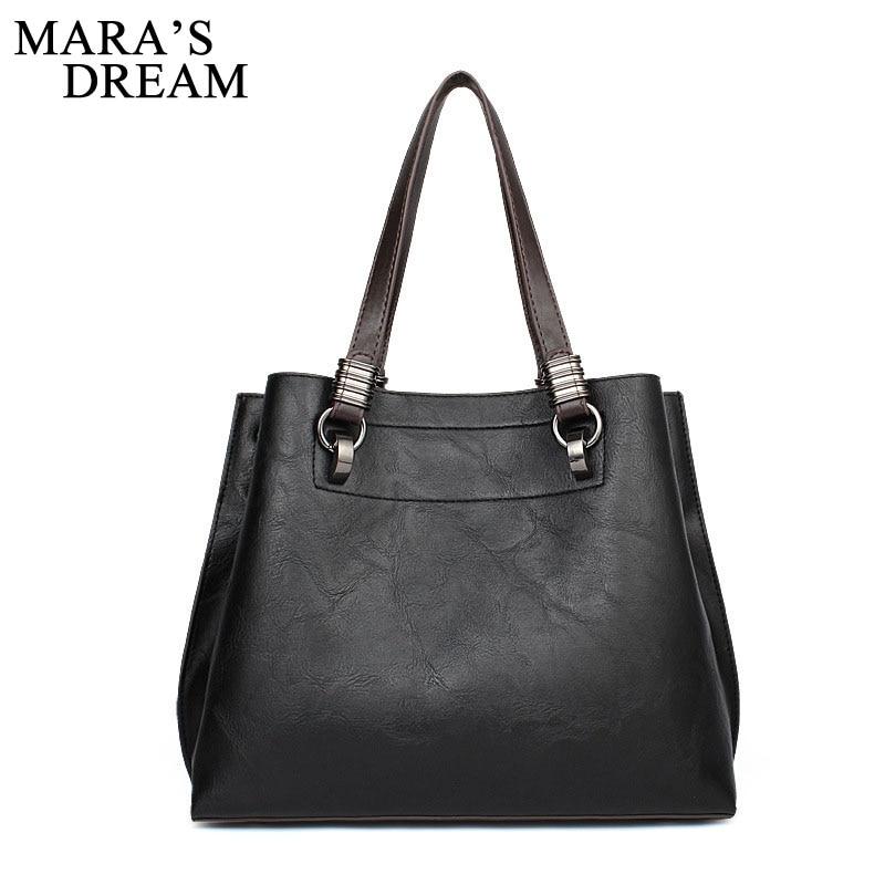 Maras Dream 2018 Fashion Wide Shoulder strap Handbag High Quality PU Leather Crossbody Bags Big Capacity Top Handle Women Bags