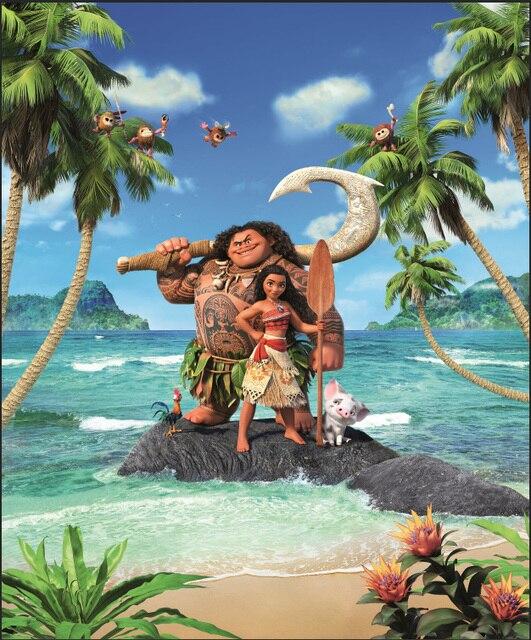 5x7ft Moana Waialiki Maui Green Island Palm Trees Beach Vaiana Custom Photo Backgrounds Studio Backdrops Vinyl