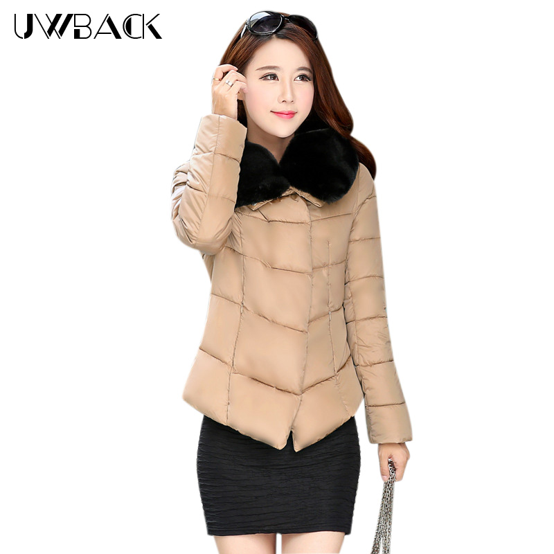 ФОТО Uwback 2017 New Brand Winter Jacket Women Plus Size 4xl Faux Fur Collar Coat Women Black Thicken Padded Parkas Mujer TB1181
