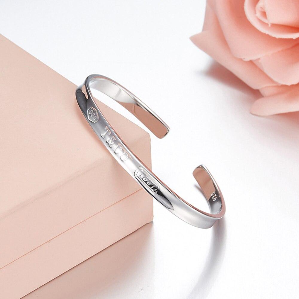 2018 Trendy 925 sterling Silver Bracelet logo for Women Bangle Lover Bracelet Jewelry Tiffi Love Bracelet Bangle Pulseiras gifts браслет с брелоками seendom jewelry 925 pulseiras cz xoxo pbs105