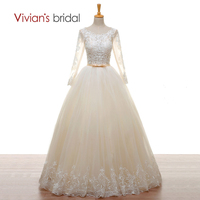 Vivian's Bridal A line Wedding Gown Long Sleeves Beads Lace Tulle Champagne Wedding Dresses Backless Lace Up 2018 Bridal Dress