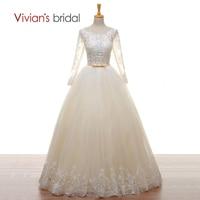 Vivian's Bridal Suknia Ślubna linii Długie Rękawy Koraliki Koronki Tiul Champagne Suknie Ślubne Backless Lace Up 2018 Bridal sukienka