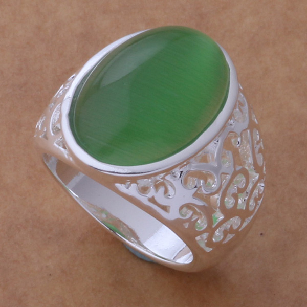 Silver plated Ring Fashion Jewerly Ring Women&Men Jade color stone /egtamyaa fwpaonwa AR ...