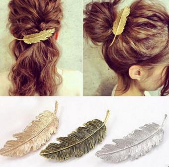 Pretty Hair Clips Vintage Gold&Silver Metal Leaf Feather Shape Hairpin Elegant Barrettes   Headwear   Decorative Jewelry