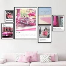 Настенные картины розового цвета с изображением автомобиля телефона
