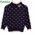 3 Цвета Свитер для Девочек Качество хлопка двойной слой основной свитер дети девочка пуловеры кардиганы водолазки дети