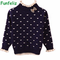 3 Colors Sweater for Girls Quality cotton double layer basic sweater kids baby girl pullover cardigans turtleneck children