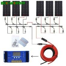 Солнечная система ECOworthy на 600 Вт: 6 монокристаллических солнечных батарей на 100 Вт, контроллер на 60 А, 5 м, черные, Красные Кабели для зарядки аккумулятора на 12 В