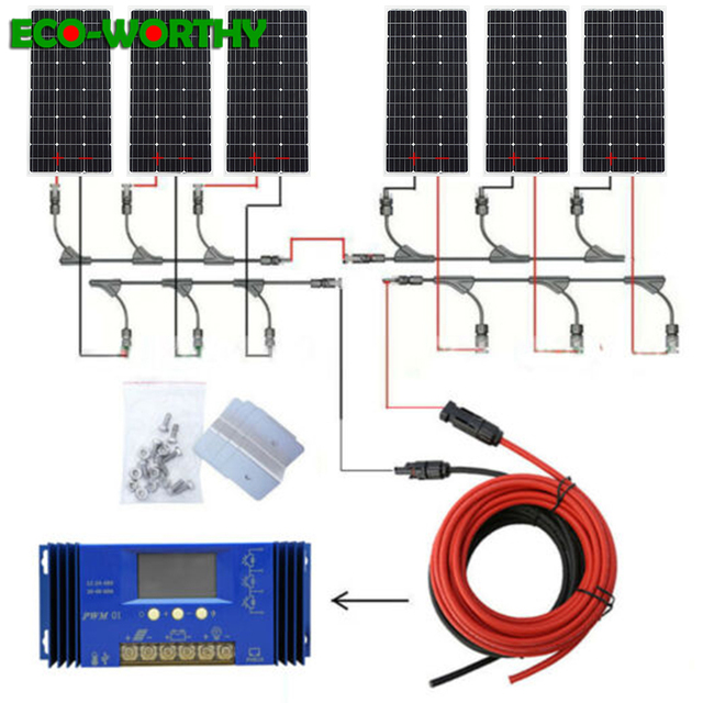 ECOworthy 600W พลังงานแสงอาทิตย์ระบบ: 6pcs 100W MONO SOLAR Power PANEL & 60A Controller & 5 M สีดำสีแดงสายชาร์จสำหรับ 12V แบตเตอรี่