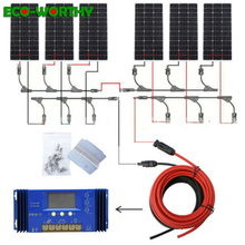 ECOworthy 600W solar system: 6pcs 100W mono solar power panel & 60A controller& 5m black red cables charge FOR 12V battery
