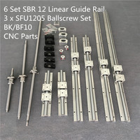 SBR 12 Linear Guide Rail 6 Set SBR 12 300/700/1100mm + Ballscrew Set RM1204 SFU1204 350/750/1150mm + BK/BF10 CNC Parts