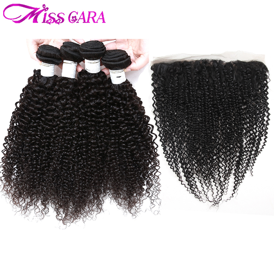 Miss Cara Peruvian Afro Kinky Curly Hair Bundles With Frontal Closure Human Hair 3/4 Bundles With Closure Remy Hair With Frontal