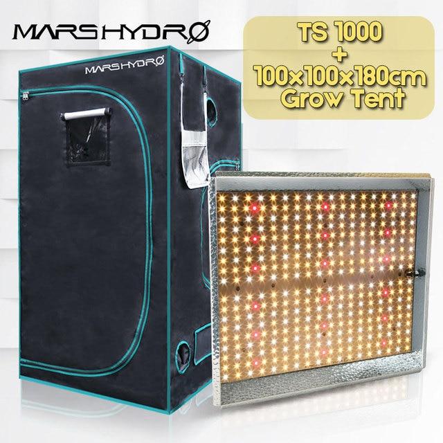 MarsHydro TS 1000W Full spectrum indoor plants led grow light and 100x100x180cm Grow tent Garden hydroponics plant growing light