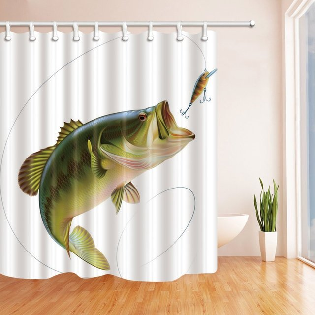Fishing Shower Curtain Bait With Line Eatting Litter Fish Waterproof Polyester Fabric Bathroom Decor Bath Curtains