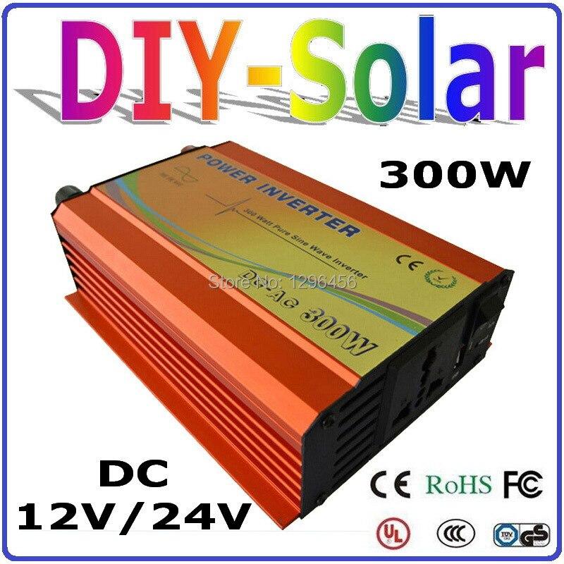 Onduleur 300 W hors réseau, onduleur à onde sinusoïdale pure pour système solaire et éolien DC12V ou 24 V à AC 100/110/120/220/230/240 V