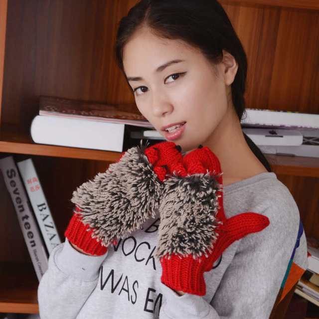 Novelty Winter Gloves for Women Knit Warm Fitness Gloves Hedgehog Heated Villus Mittens Cartoon Mitaine 1ST6101