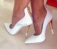 לבן קלאסי תנין עור עקבים גבוהים נשים משאבות קיץ סנדל נעלי ערב מסיבת גברות אופנה נעלי חתונת טו סגורה