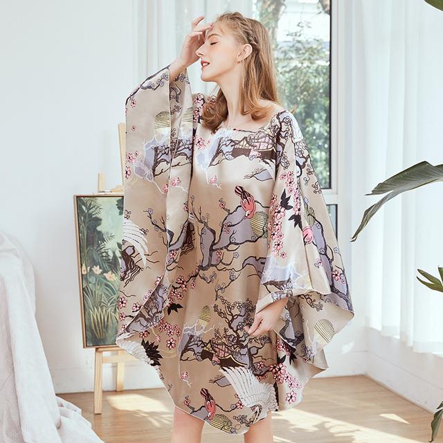 Oversize Women Faux Silk Nightwear Novelty Print Nightgown 6XL Loose Nightdress Sleepwear Bat Sleeve Nightwear Home Dress