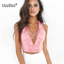 UZZDSS White Lace Up Crop Top 2017 Summer V Neck Sleeveless Vest Top Women Backless Zipper Sexy Slim Short Cami Tank Top
