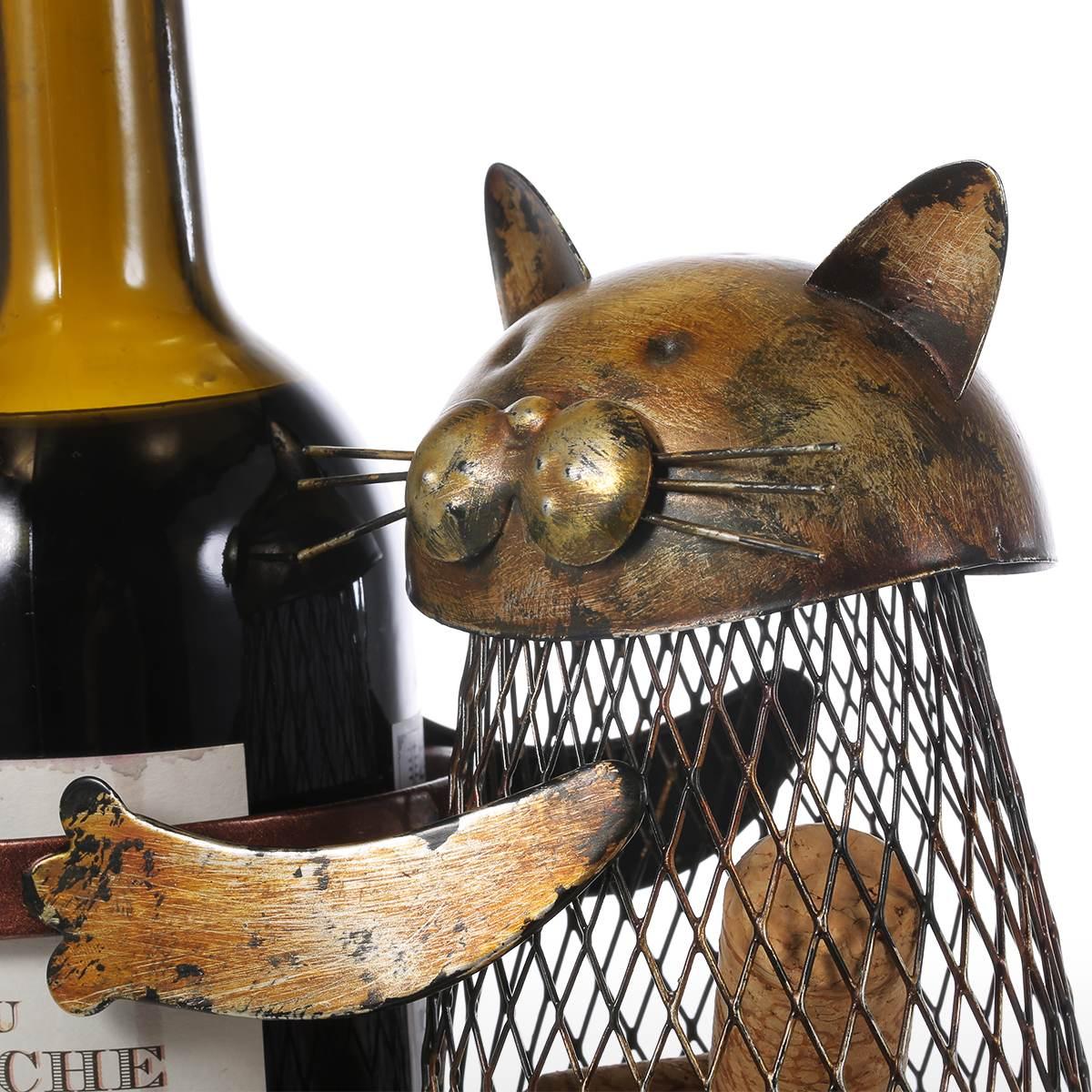 Tooarts Cat Wine Rack Cork Container Bottle Wine Holder Kitchen Bar Metal Wine Craft Christmas Gift Handcraft Animal Wine Stand 16