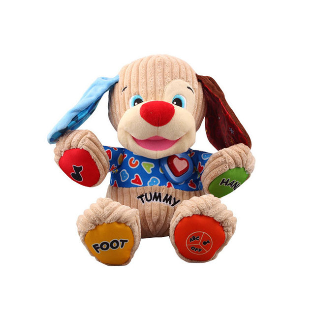 25cm Baby Bilingual Learning Toys Infant Cute Animal Dog Music